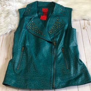 V Cristina bling teal leather vest size small NWT